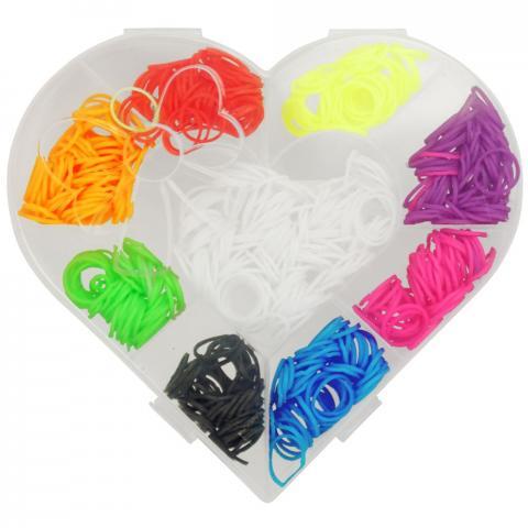 Gumki do zaplatania koreczków w pudełku York Heart mulikolor