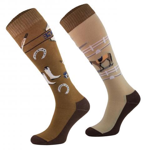 Skarpety Comodo bawełna wzór brązowo-beżowe Dressage