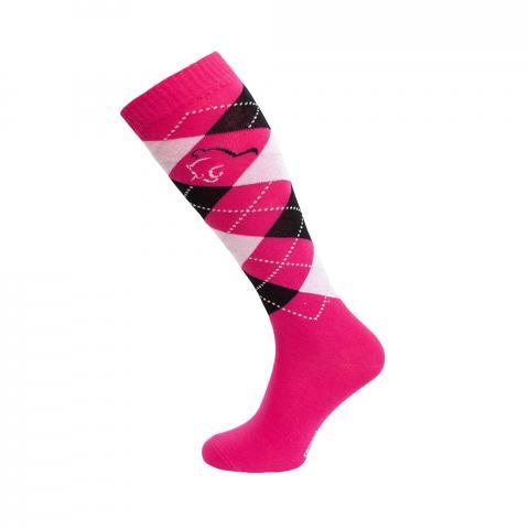 Skarpety Comodo romby różowo-jasnoróżowo-czarne
