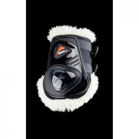 Ochraniacze z futerkiem eQuick eShock FluidGel Fluffy Legend Velcro tył czarne z czarnym żelem