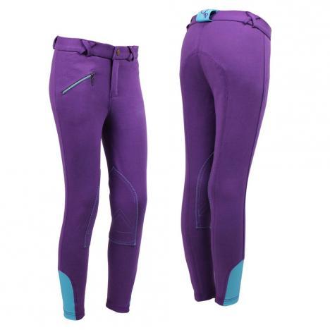 Bryczesy młodzieżowe QHP Purple, fioletowe