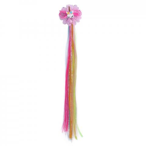 Włosy doczepiane do ogona lub grzywy QHP Unicorn Fairy tęczowe
