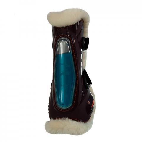Ochraniacze z futerkiem eQuick eShock FluidGel Fluffy Velcro przód brązowe
