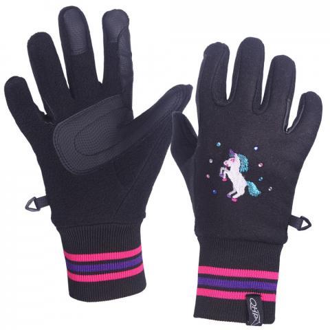 Rękawiczki dziecięce QHP Hidalgo Black, czarne