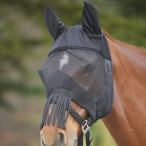 Maska przeciw muchom z frędzlami czarna