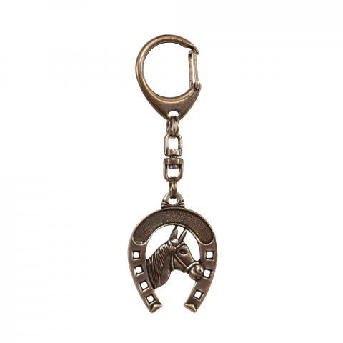 Brelok T/A ciemny mosiądz głowa konia duża w podkowie