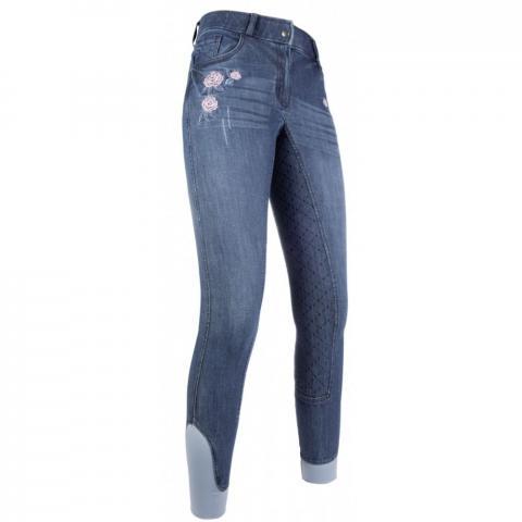 Bryczesy młodzieżowe z silikonem HKM Flower Denim niebieski jeansowy