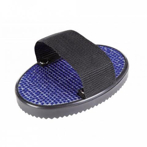 Zgrzebło owalne HKM plastikowe z kryształkami czarno-niebieskie