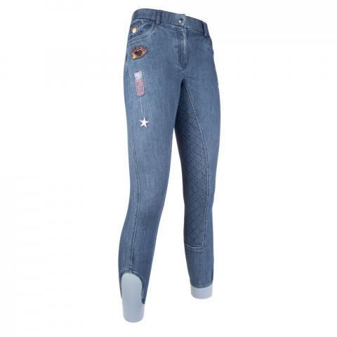 Bryczesy młodzieżowe z silikonem HKM Patches Denim jeansowe