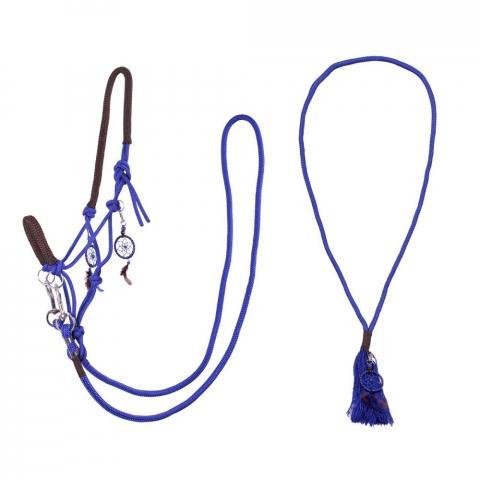 Kantar sznurkowy z wodzami i liną balansową cordeo QHP blue, kobaltowy
