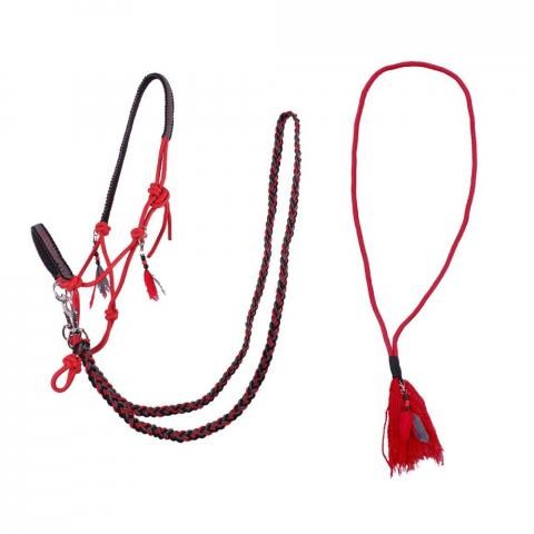 Kantar sznurkowy z wodzami i liną balansową cordeo QHP red, czerwony