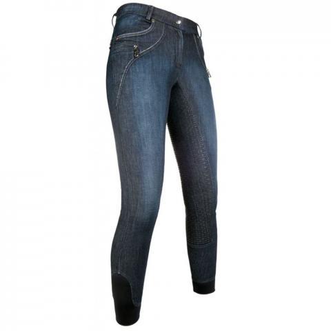 Bryczesy z silikonem HKM Limoni Denim niebieskie-jeansowe