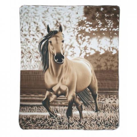 Kocyk HKM Falbe z motywem konia brązowy