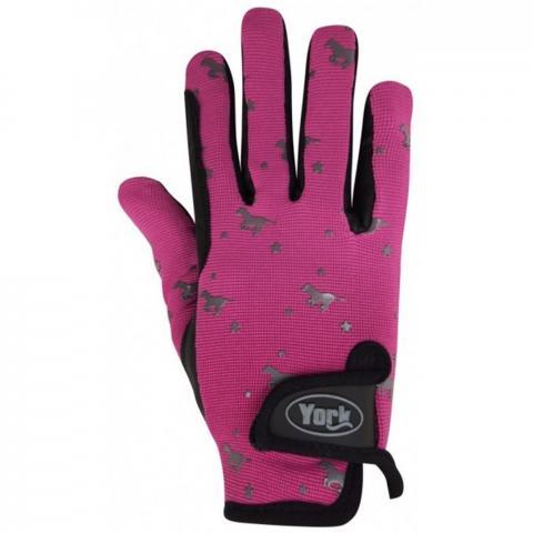 Rękawiczki zimowe York Horsi dziecięce różowo-czarne
