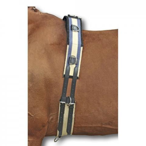 Pas do lonżowania HKM Canvas granat-beż