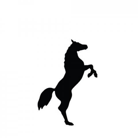 Naklejka Wspinający się koń HKM czarna