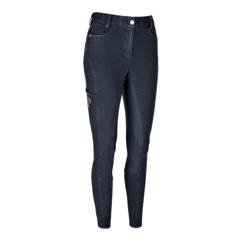 Bryczesy damskie Pikeur Tesia Grip Jeans Full Patches, granatowe