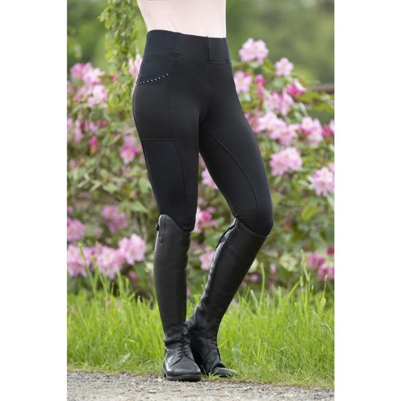Legginsy HKM Mesh Style z silikonem czarne