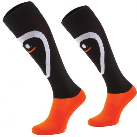 Skarpety Comodo podkoniówki czarno-pomarańczowe z pingwinem