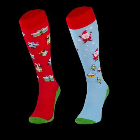 Skarpety bożonarodzeniowe Comodo Mikołaj i prezenty czerwono-błękitne