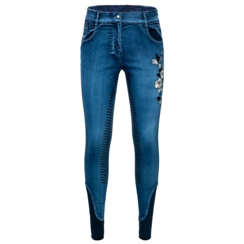 Bryczesy z silikonem Start Albans Denim niebieskie jeansowe
