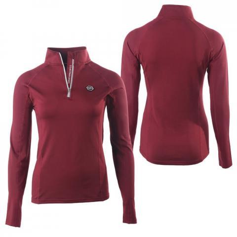 Bluza z półgolfem QHP Florence burgundy, bordowa