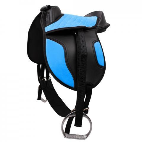 Siodło syntetyczne na kucyka QHP Blue, niebieskie