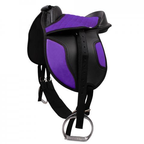 Siodło syntetyczne na kucyka QHP Purple, fioletowe