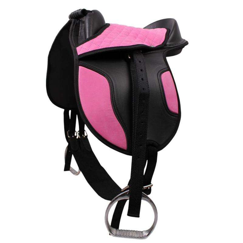 Siodło syntetyczne na kucyka QHP Pink, różowe