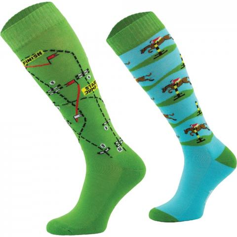 Skarpety Comodo bawełna wzór błękitno-zielone ze skoczkami