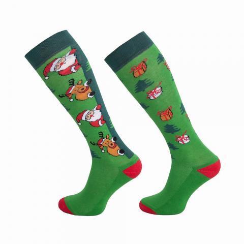 Skarpety bożonarodzeniowe Comodo Mikołaj i renifery zielone