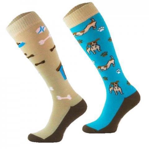 Skarpety Comodo bawełna wzór błękitno-beżowe pieski i kostki