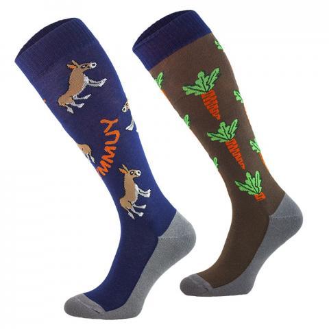 Skarpety Comodo bawełna wzór granatowo-brązowe osły i marchewki