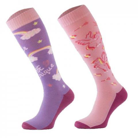 Skarpety Comodo bawełna wzór fioletowo-różowe jednorożce i tęcza