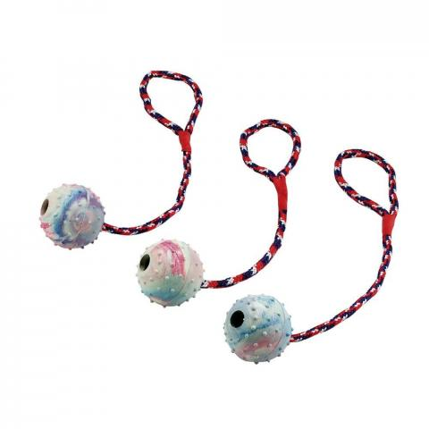 Zabawka dla psa Kerbl dzwoniąca gumowa piłka na linie mix kolor