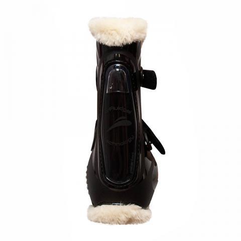 Ochraniacze z futerkiem eQuick eShock FluidGel Fluffy Legend Velcro przód czarne z czarnym żelem