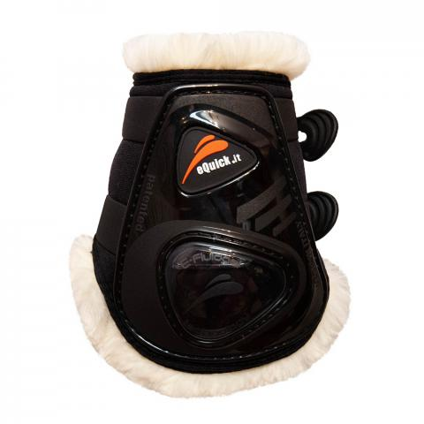 Ochraniacze z futerkiem eQuick eShock FluidGel Fluffy Legend tył czarne z czarnym żelem