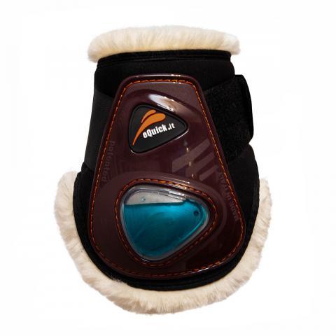 Ochraniacze z futerkiem eQuick eShock Fluffy FluidGel Velcro tył brązowe