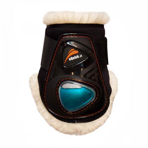 Ochraniacze z futerkiem eQuick eShock Fluffy FluidGel Velcro tył czarne