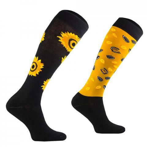 Skarpety Comodo bawełna wzór czarno-żółte słoneczniki