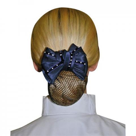 Siatka na włosy z kokardą z diamencikami granatowa