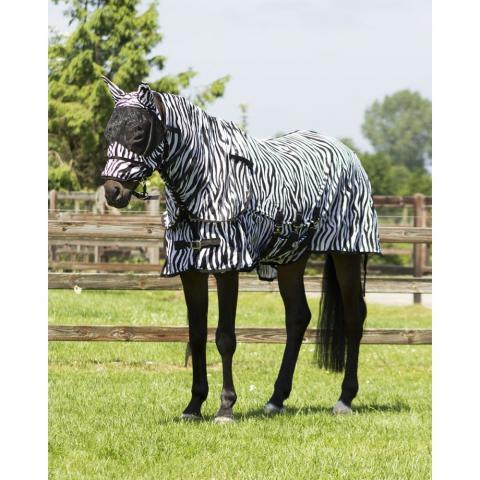 Derka siatkowa QHP Anti-Fly Zebra z kapturem i maską black-white, czarno-biała