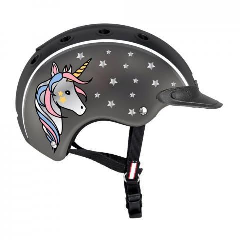 Kask Casco Nori Unicorn czarno-grafitowy z jednorożcem