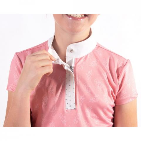 Koszulka konkursowa dziecięca QHP Jade blossom, różowa