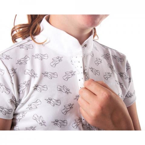 Koszulka konkursowa dziecięca QHP Jade white, biała