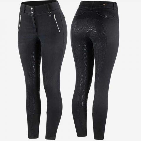 Bryczesy damskie z silikonem jeansowe Horze Nicole czarne