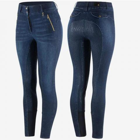 Bryczesy damskie z silikonem jeansowe Horze Nicole granatowe