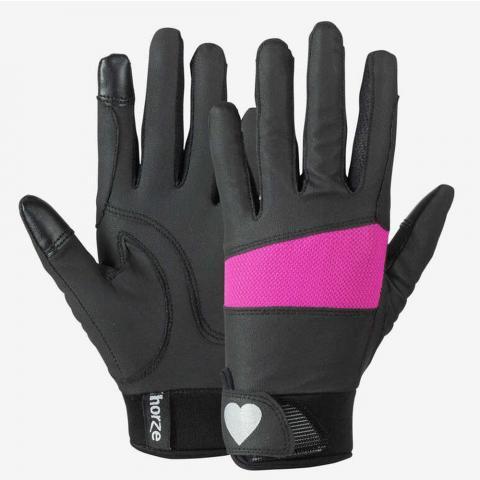 Rękawiczki dziecięce Horze Gloves with Heart czarno-różowe