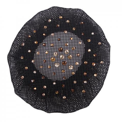 Siatka na włosy z kryształkami brązowymi QHP czarna