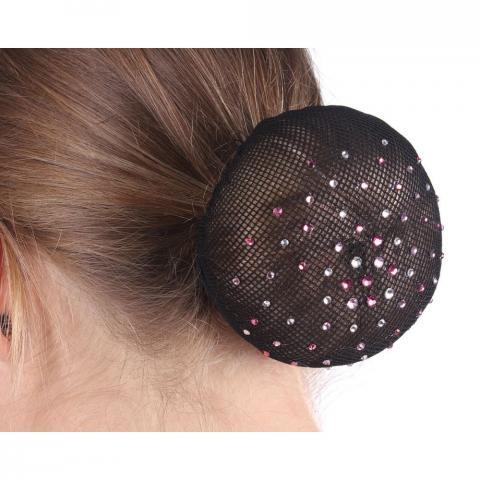 Siatka na włosy z kryształkami rózowo-srebrnymi QHP czarna